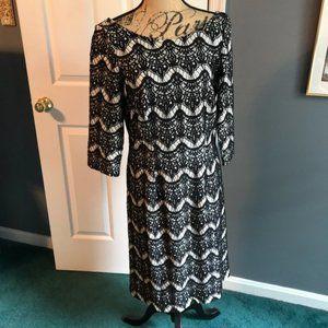 Lilly Pulitzer Nikola Black Lace 3/4 Sleeve Dress